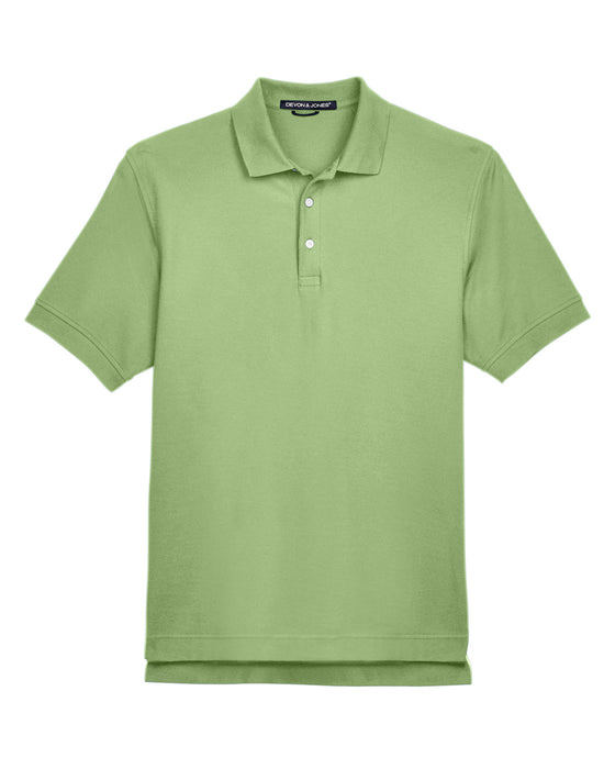 Lime Devon & Jones Pima Pique Polo With Logo
