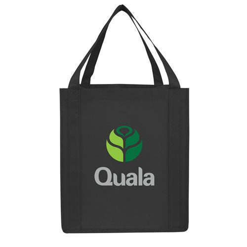 Black Custom Reusable Grocery Bag with logo