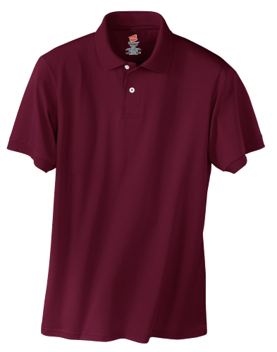 Maroon Hanes Jersey Knit Polo With Logo