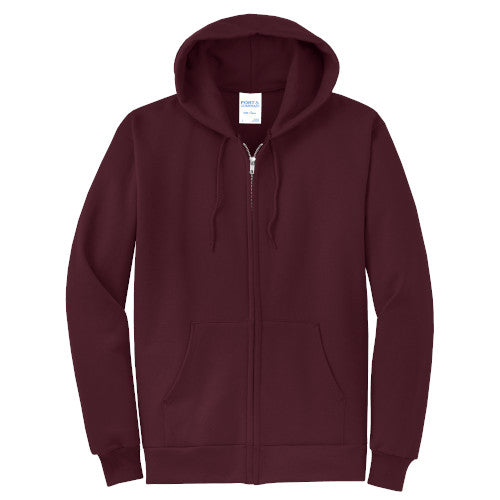 Maroon Custom Full Zip Hooded Sweatshirt