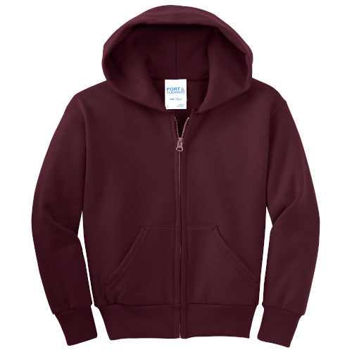 Maroon Custom Youth Full Zip Hooded Sweatshirt