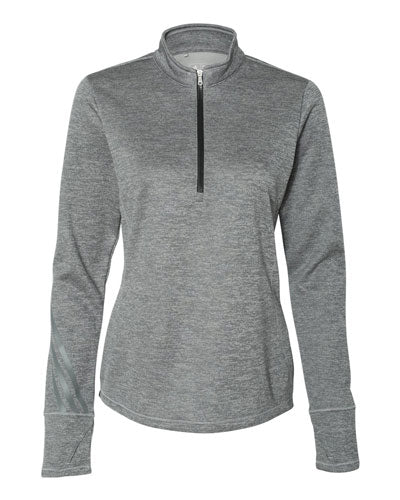 Mid Grey/ Heather Black Custom Adidas - Women's Brushed Terry Heather Quarter Zip Pullover