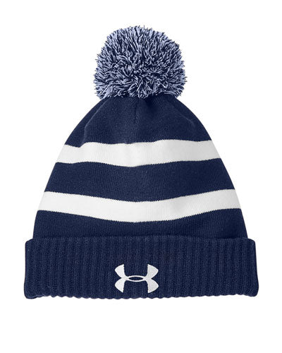 Midnight Navy/ White Custom Under Armour Pom Beanie