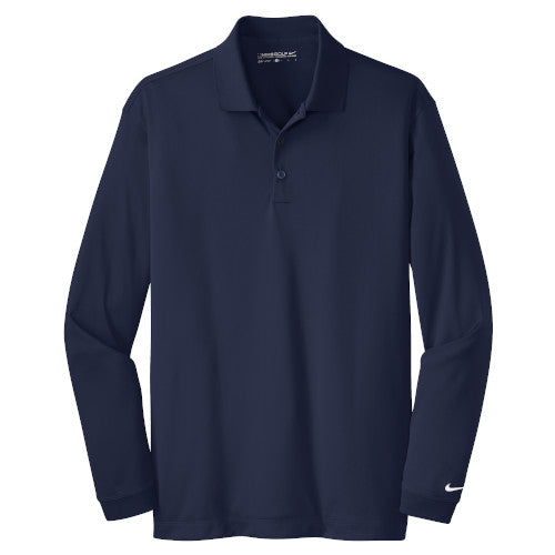 Midnight Navy Nike Dri-FIT Long Sleeve Golf Shirt WIth Logo