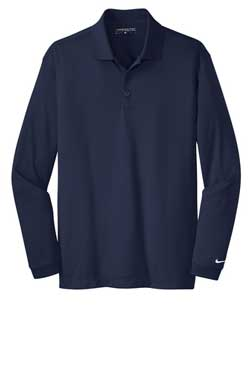 Midnight Navy Nike Long Sleeve Dri-FIT Stretch Tech Polo With Logo