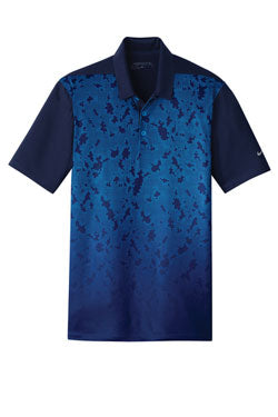 Midnight Navy Nike Dri-FIT Mobility Camo Polo With Logo