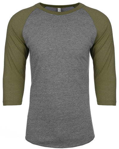 Military Green/ Prm Heather Custom Next Level Unisex Triblend 3/4-Sleeve Raglan