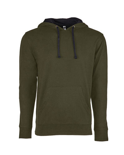 Military Green/ Black Custom Next Level Unisex French Terry Pullover Hoody