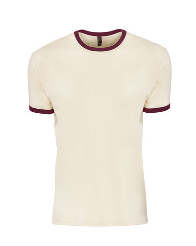 Natural/ Maroon Custom Next Level Unisex Ringer T-Shirt