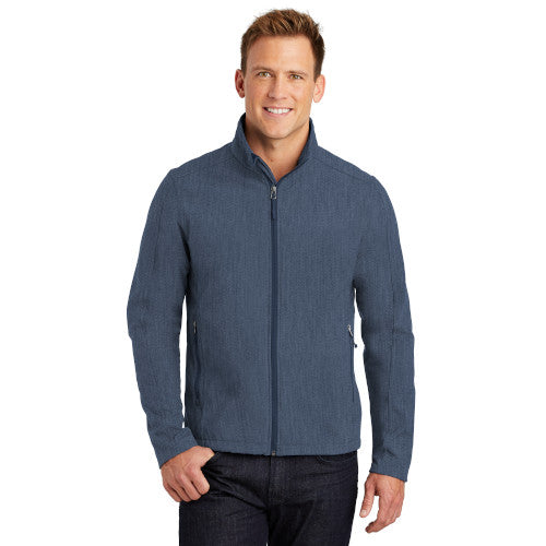 Navy Heather Custom Men's Soft Shell Jacket with logo