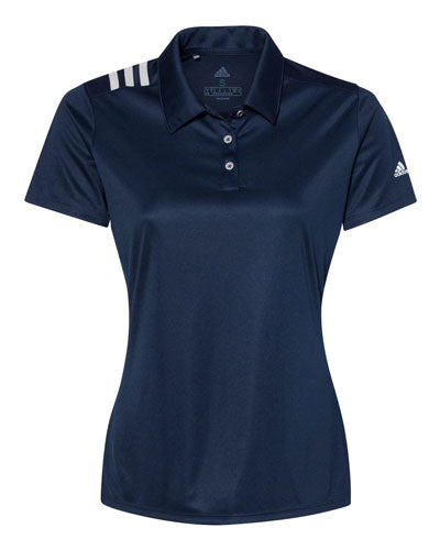 Navy Custom Adidas Womens 3 Stripe Polo