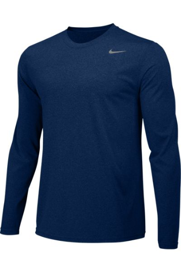 Navy Custom Nike Dri-FIT Long Sleeve T-Shirt