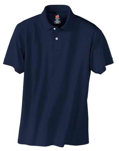 Navy Hanes Jersey Knit Polo With Logo