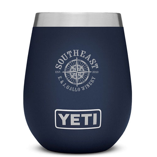 Navy Blue Custom Engraved 10 oz Yeti Stemless Wine Tumbler