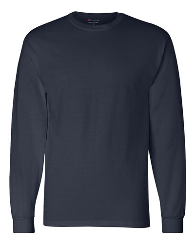 Navy Custom Champion Long Sleeve T- Shirt