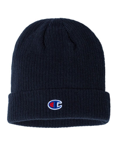 Navy Custom Champion Ribbed Knit Cap