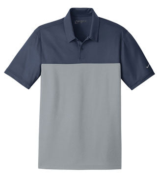 Navy/ Cool Grey Nike Dri-FIT Colorblock Micro Pique Polo With Logo