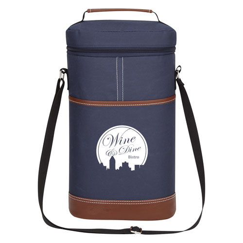 Navy Custom Double Wine Cooler Bag