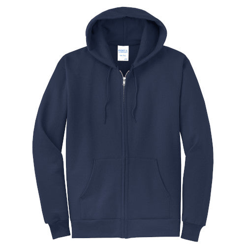 Navy Custom Full Zip Hooded Sweatshirt