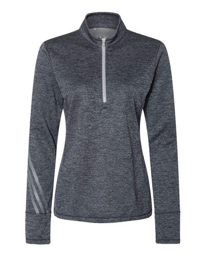 Navy Heather/ Mid Grye Custom Adidas - Women's Brushed Terry Heather Quarter Zip Pullover