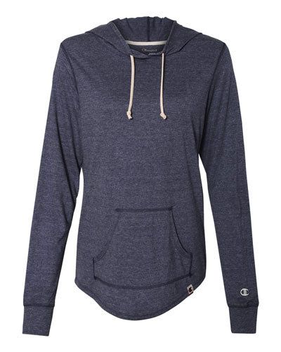 Navy Heather Custom Champion Women's Originals Triblend Hooded Pullover