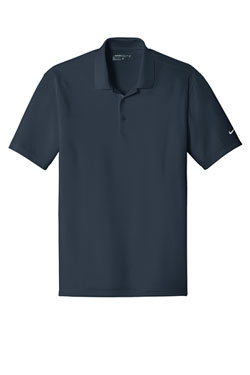 Navy Nike Dri-FIT Players Polo with Flat Knit Collar With Logo