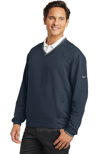 Navy Custom Nike V-Neck Wind Shirt Jacket with logo