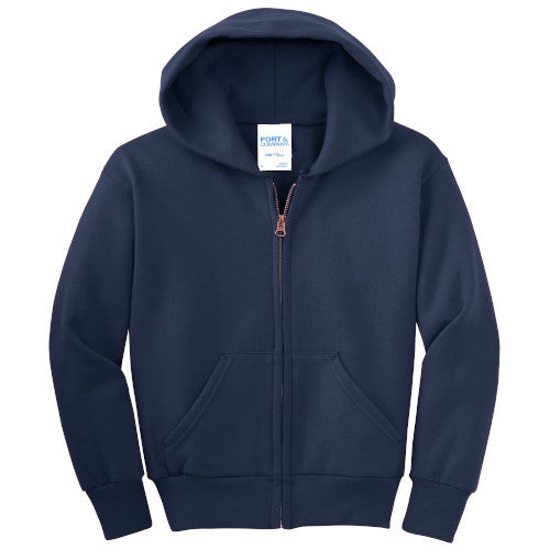 Navy Custom Youth Full Zip Hooded Sweatshirt