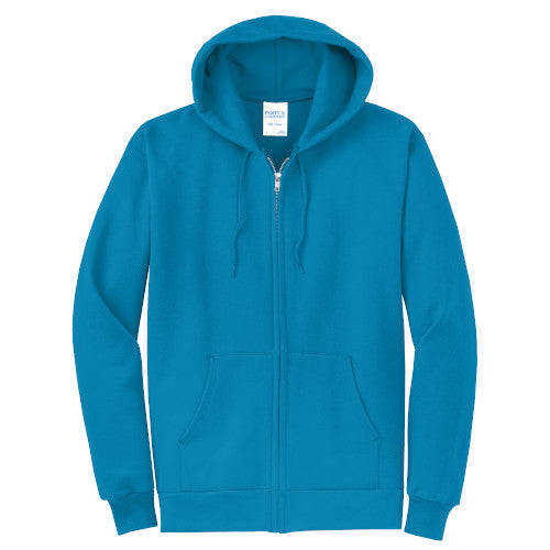 Neon Blue Custom Full Zip Hooded Sweatshirt