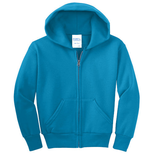 Neon Blue Custom Youth Full Zip Hooded Sweatshirt