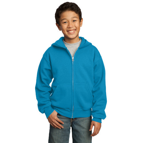 Neon Blue Custom Youth Full Zip Hooded Sweatshirt with logo
