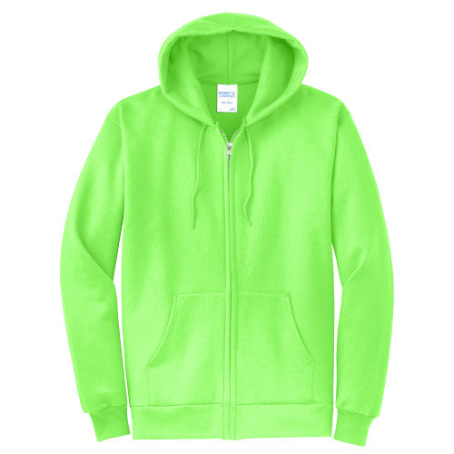 Neon Green Custom Full Zip Hooded Sweatshirt