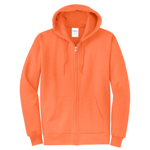 Neon Orange Custom Full Zip Hooded Sweatshirt