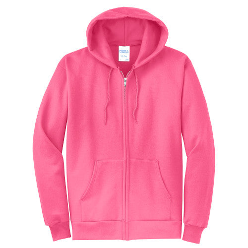 Neon Pink Custom Full Zip Hooded Sweatshirt