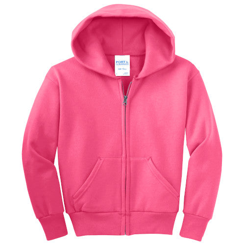 Neon Pink Custom Youth Full Zip Hooded Sweatshirt