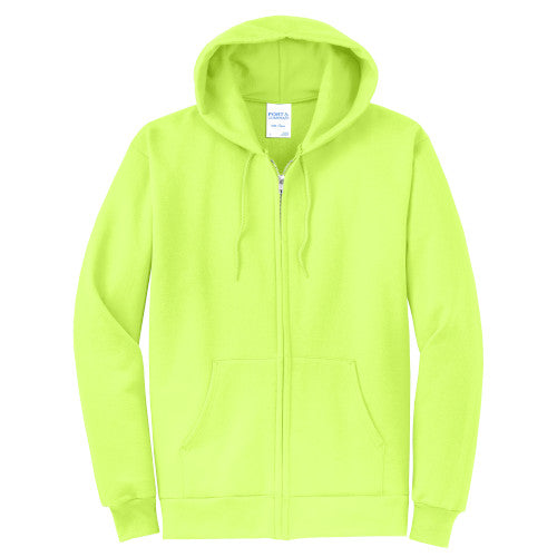Neon Yellow Custom Full Zip Hooded Sweatshirt