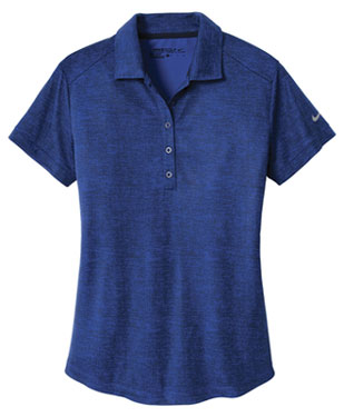 Old Royal/ Marine Nike Ladies Dri-FIT Crosshatch Polo With Logo