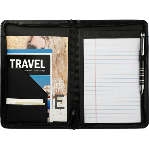 Black Open Windsor Small Zippered Padfolio Notepad