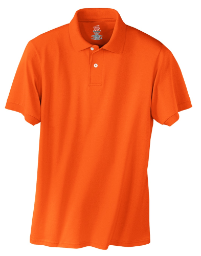 Orange Hanes Jersey Knit Polo With Logo