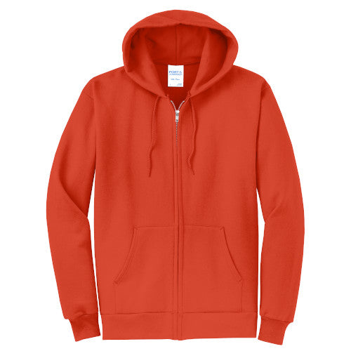 Orange Custom Full Zip Hooded Sweatshirt