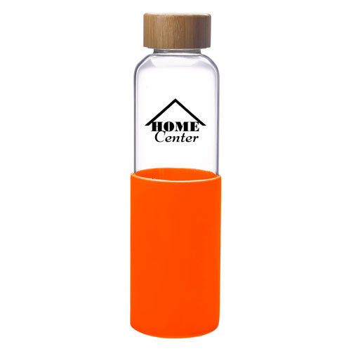 Orange Custom Modern Glass Water Bottle