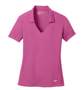 Pink Nike Ladies Dri-FIT Vertical Mesh Polo With Logo