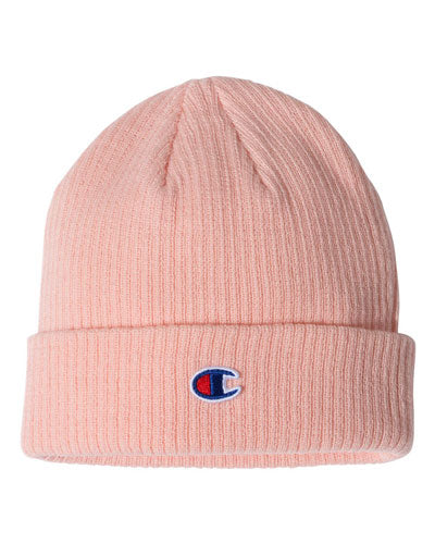Pink Custom Champion Ribbed Knit Cap