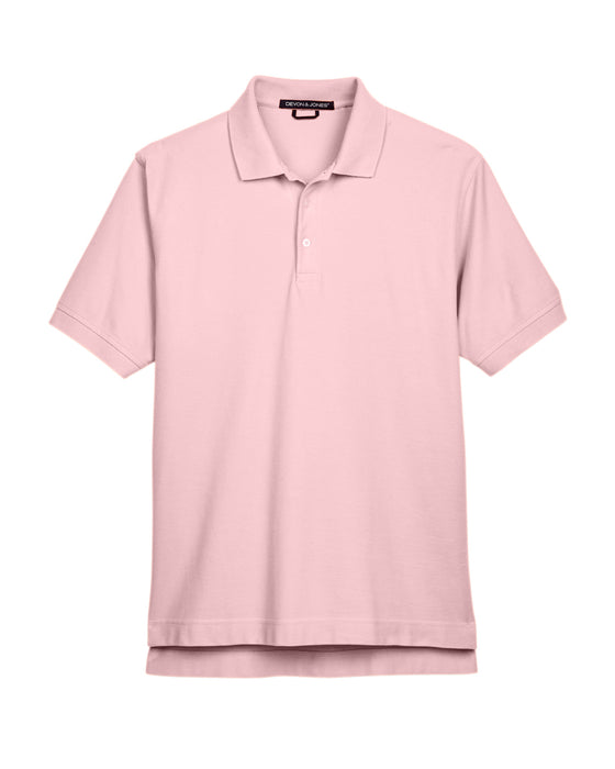 Pink Devon & Jones Pima Pique Polo With Logo