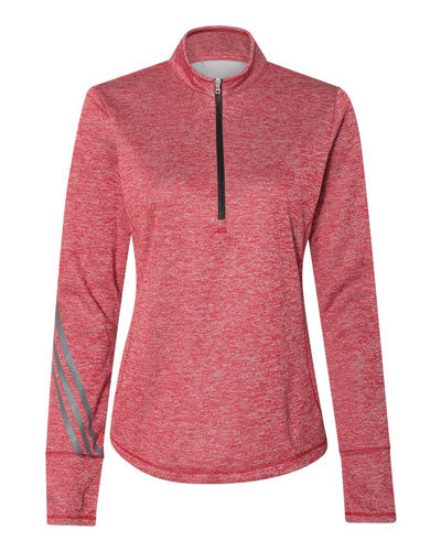 Power Red Heather Custom Adidas - Women's Brushed Terry Heather Quarter Zip Pullover