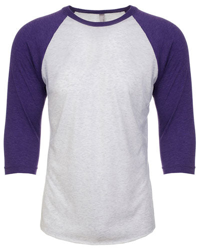 Purple Rush/ Heather White Custom Next Level Unisex Triblend 3/4-Sleeve Raglan