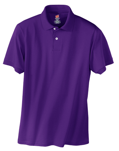 Purple Hanes Jersey Knit Polo With Logo
