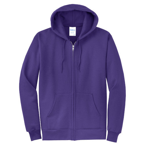 Purple Custom Full Zip Hooded Sweatshirt