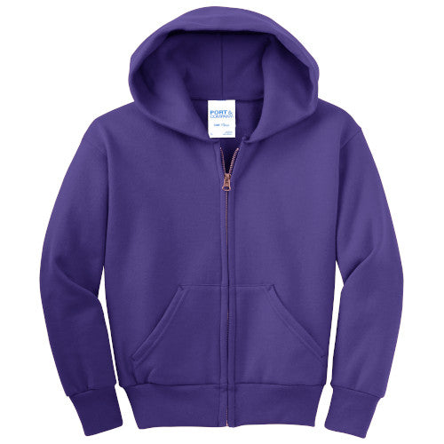 Purple Custom Youth Full Zip Hooded Sweatshirt