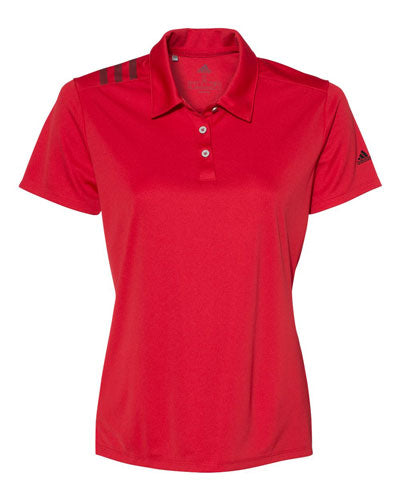 Red Custom Adidas Womens 3 Stripe Polo